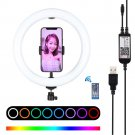 7.6 inch Bluetooth dimmable RGB ring light with remote control for live selfie