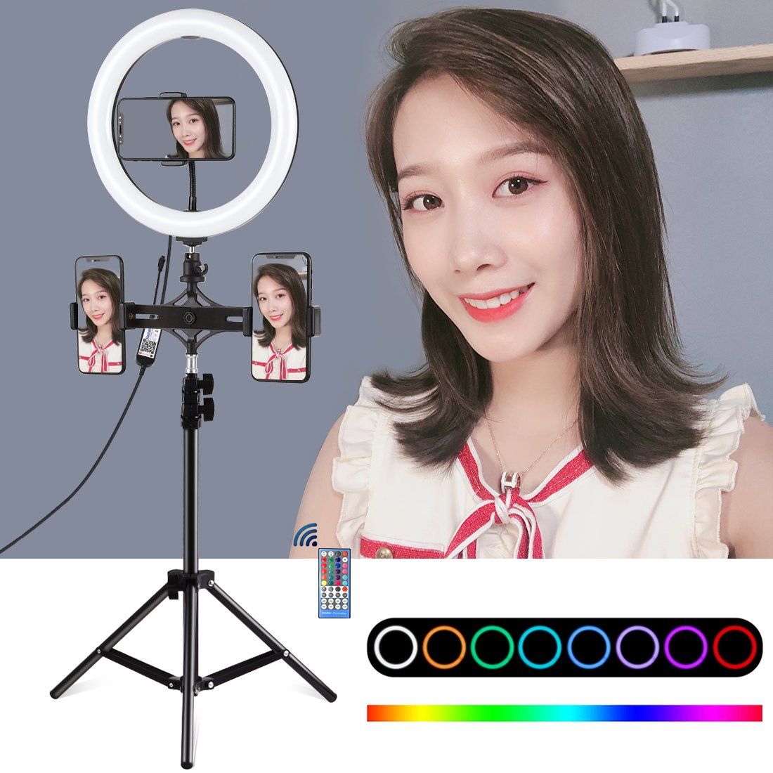 10.2 inch RBG dimmable remote control ring light, suitable for live broadcast