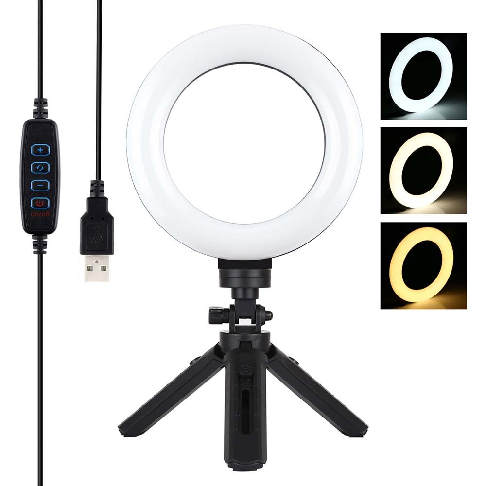 6.2 inch real-time streaming video selfie 3 mode dimmable light LED ring light with 16.5 cm tripod