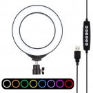 6.2 inch 16 cm RGB dimmable ring light with 10 modes and 8 colors USB for live broadcast