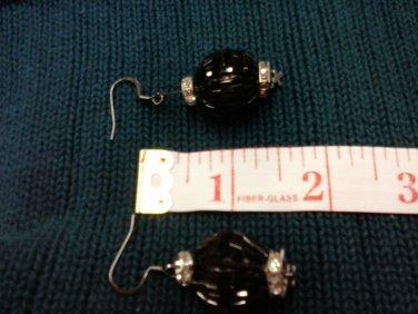 005 Earrings Black Beaded Ball