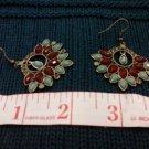 007 Earrings Red and Green Fan