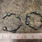 019 Handmade Large blue beaded hoops with Rose-shaped beads
