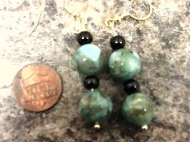 047 Handmade Blue and Green patterned Semiprecious gemstone Earrings