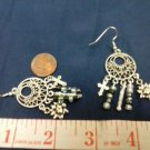 030 Unique Earrings: Round silver chandelier earrings with charms.