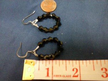 027 Handmade Black Swarovski Hoop Earrings