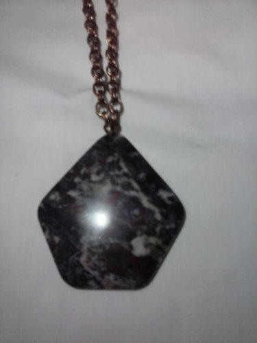 Dragon blood stone hexagon pendant necklace