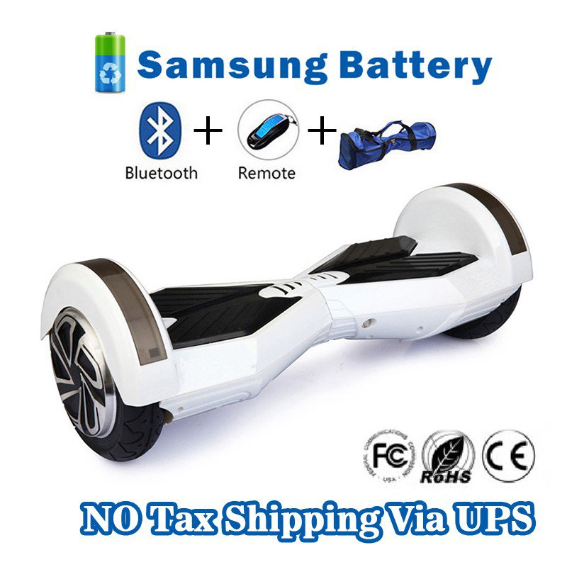 8 inches Bluetooth Hoverboard Self Balancing Scooter with LED White