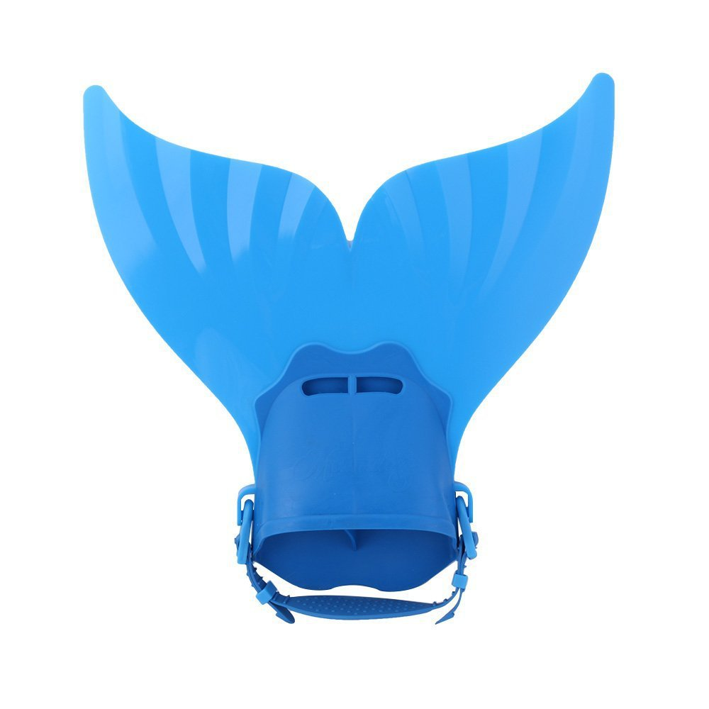 Teen Mermaid Swim Fin Diving Monofin Swimming Flipper Swimmable Tail  - Blue