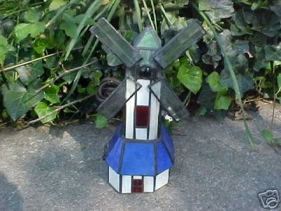 Stained Glass Windmill Night Light - Table Lamp