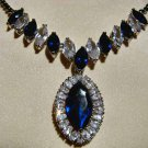 Royal Blue Sapphire Necklace 18K White Gold w/ Swarovski Crystals