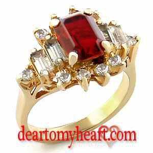 Emerald Cut Crowned Garnet Yellow Gold Ladies Ring