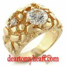 Men's Hansom Gold Nugget Round Cut Ring