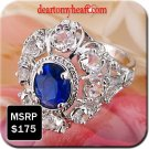 Oval Cut Blue September Sapphire Ladies Ring Layered in 18K White Gold