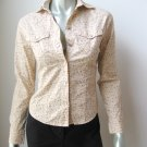 Periscope NEW Junior Beige Stretch Cotton Long Sleeve Button Down Shirt Top S
