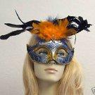 GATOR GIRL Glitter Feather Masquerade Mask BEAD Edge