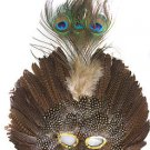 Venetian Feather Mask Brown Masquerade Decor Mardi Gras Halloween Prom