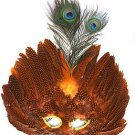 Venetian Feather Mask Orange Masquerade Decor Mardi Gras Halloween Prom