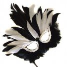 Black & White Feather Wand Mask Zulu Queen Halloween Costume Party Mardi Gras