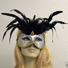 White Gold Black Feather Masquerade Mask Costume