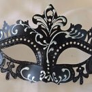 Venetian Eye Mask Black & White Scroll Mardi Gras Halloween Prom Costume Party