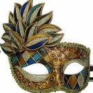 Venetian Mask Cascade Blue Harlequin Halloween Mardi Gras Costume Prom Party