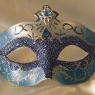 Venetian Eye Mask Blue & Silver Jewel Mardi Gras Masquerade Costume Party