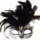 Saigon Silver & Black Mask Costume Prom Mardi Gras New Orleans Masquerade