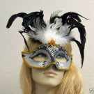 Black & White Glitter Feather Masquerade Mask Party