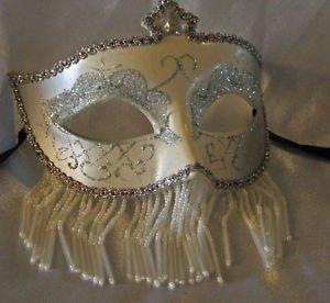 Venetian Mask Veil White & Silver Prom Mardi Gras Masquerade Costume Party