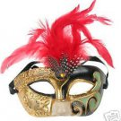 Masquerade Ball Mardi Gras Party Mask Pierrot Feathers #1 Halloween