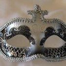 Venetian Eye Mask Black & Silver Mardi Gras Halloween Prom Costume Party