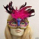 Hot Pink Burst Glitter Feather Masquerade Mask BRAID
