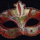 Wellington Crimson Red GOLD Venetian Mardi Gras Mask