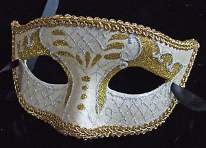 Venetian Mask White and Gold Mardi Gras New Orleans Halloween Masquerade