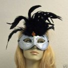 Silver & White Feather Masquerade Mask Costume Party
