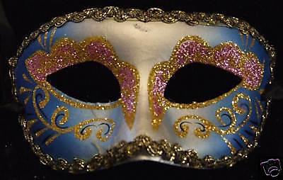 Venetian Mask Glitter Mardi Gras Violet and Blue Gold