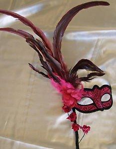 Venetian Stick Mask Climbing Rose Pink Mardi Gras Men Costume Prom