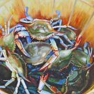 Blue Crab Seafood New Orleans Baltas Matted Art Print French Quarter Bushel