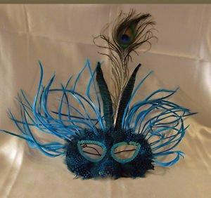 Feather Mask Carnival Blue Mardi Gras Masquerade Ball Decor Party Prom