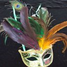 SHOWGIRL OSTRICH Feather Mask Green Metallic with Multi