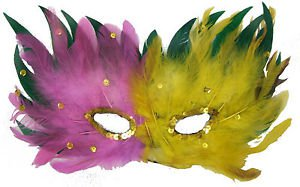 Venetian Feather Mask Pink Yellow Green Mardi Gras Costume Prom Masquerade