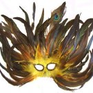 Feather Mask Flame Yellow Mardi Gras Masquerade Ball Decor Party Prom
