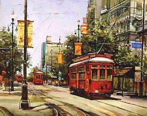 Street Car Bourbon Street Red New Orleans Baltas Matted Art Print Cajun Creole