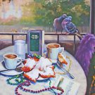Cafe Dumonde Party New Orleans Baltas Matted Art Print French Quarter