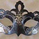 Venetian Eye Mask Black & Silver Notch Mardi Gras Halloween Prom Costume Party