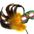 Mardi Gras Colors Feather Wand Mask Yellow Feathers Halloween Prom Costume Party