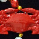 Four Red Crab Mardi Gras Beads New Orleans Seafood
