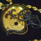 3-D Black & Gold Helmet New Orleans Football Team Bead Necklace Mardi Gras