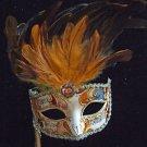 Fancy Venetian Stick Mask Hazel Mardi Gras Halloween Masquerade Costume Prom